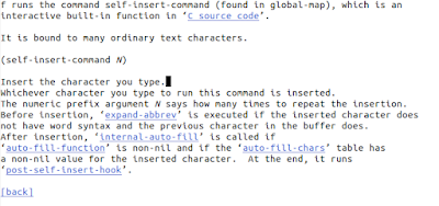 """The text of the """"self-insert-command"""" help documentation"""