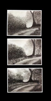 Charcoal sketching done by participants during charcoal workshop by Manju panchal