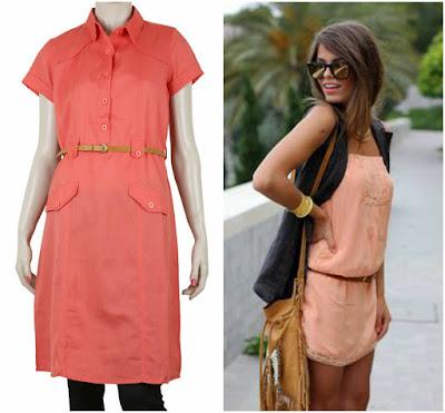 Peach colour dress, Plain colour dress