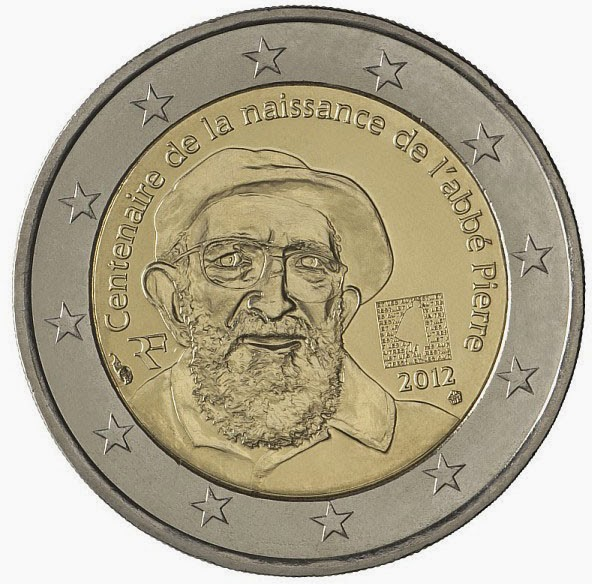 2 Euro Commemorative Coins France 2012 Birthday Abbe Pierre