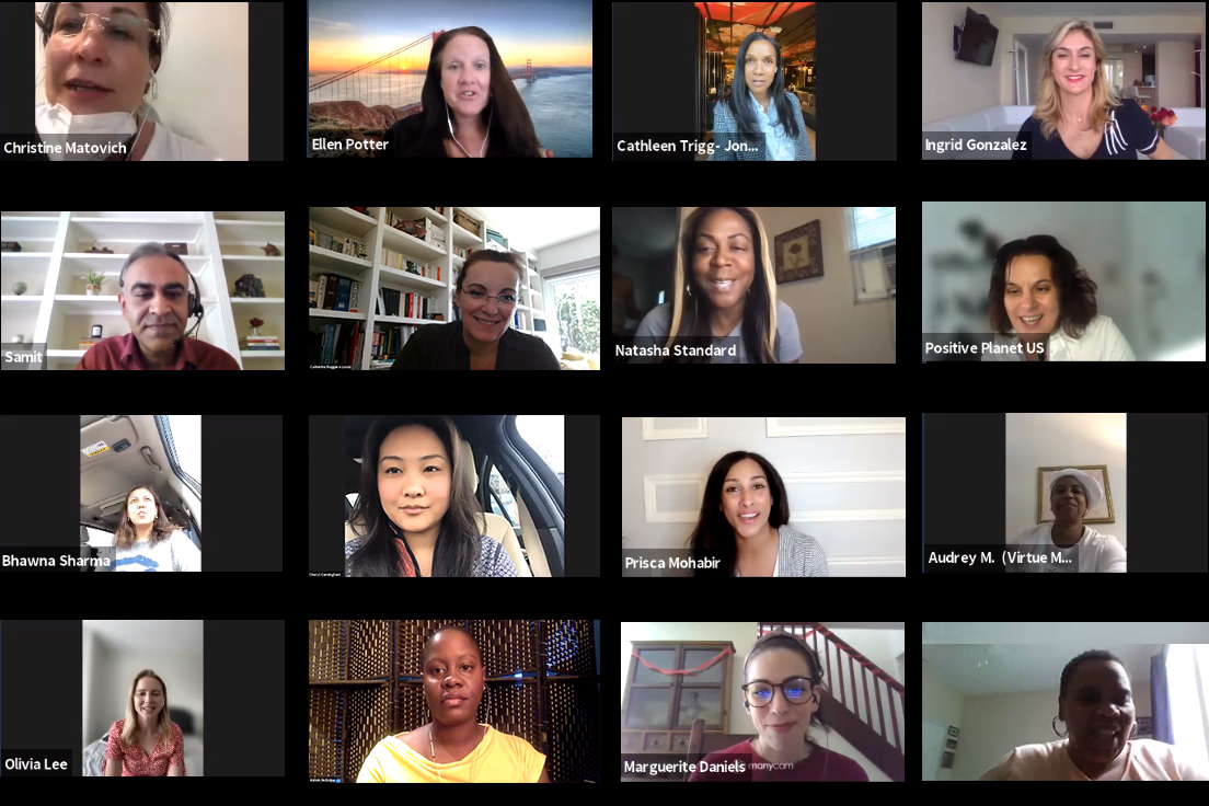 Screenshot of participants of Positive Planet US' second Accelerator Hub Program in a virtual meeting