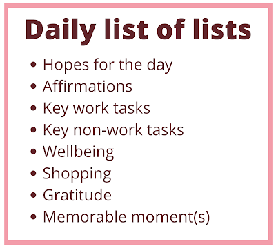 Daily list of lists: hopes for the day, affirmations, key work tasks, key non-work tasks, wellbeing, shopping, gratitude, memorable moment(s)