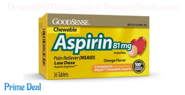 GoodSense  Aspirin 81 mg  Pain Reliever (NSAID) Chewable Tablets, Low Dose Aspirin, Orange Flavor