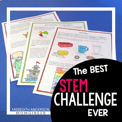 The Best STEM Challenge EVER! Design and create a cargo ship with the engineering design process. Build a boat and test it out while learning about density, buoyancy, and Archimedes' Principle. Read the post for 8 more amazing STEM challenges!  | Meredith Anderson -  Momgineer