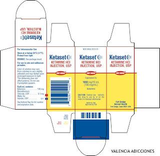 Presentación comercial de Ketamina 100 mg iny.