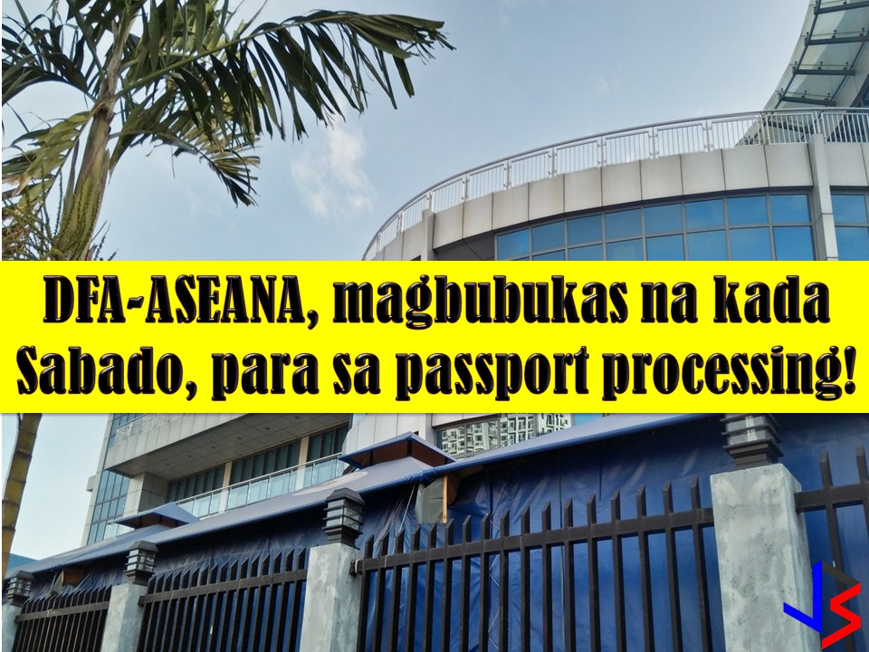 Since the Department of Foreign Affairs (DFA) cannot give thousands of Filipinos a 24-hour passport service, they are now opening their Saturdays to accommodate more applications.   Starting February 10, 2018, the DFA will open its Office of Consular Affairs (OSA) in ASEANA to accommodate passport applicants on weekend.  So if you are looking for quick passport renewal or fast passport application, you can process in DFA-ASEANA, but first, you must obtain an online appointment (good luck for that).  Read more: http://www.jbsolis.com/2018/02/dfa-aseana-to-open-every-saturday-for-passport-application.html#ixzz57eXfb3uI