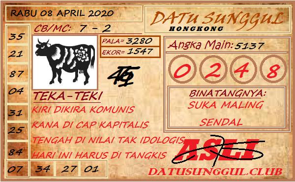 Prediksi HK Rabu 08 April 2020 - Datu Sunggul HK