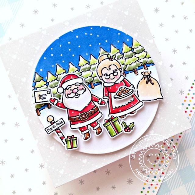 Sunny Studio Stamps: North Pole, Winter Scenes & Santa Claus Lane Winter Holiday Card by Franci Vignoli