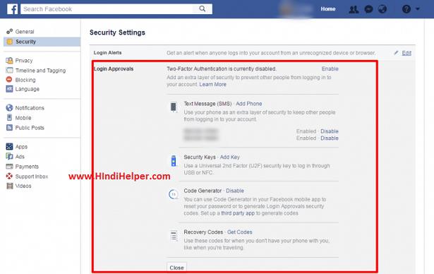 Facebook Me 2 STEP VERIFICATION  steps