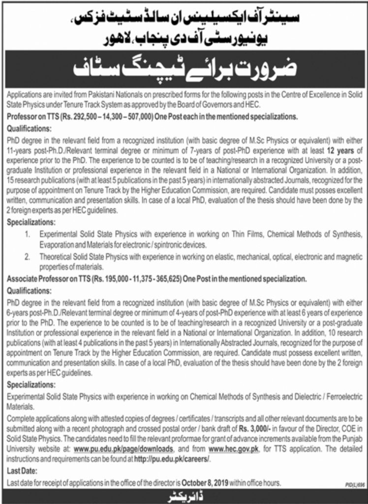 University of the Punjab Lahore Jobs 2019 For Teaching