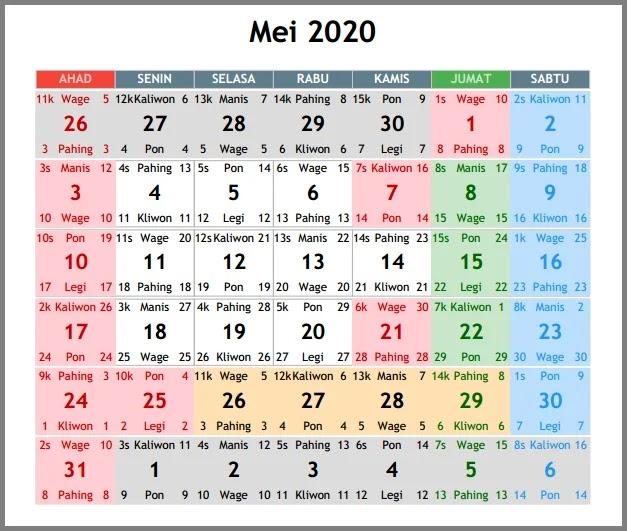 Kalender 2020 Indonesia, Lengkap Tanggal Merah Dan Cuti