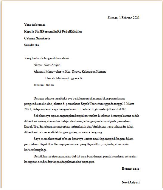 Contoh Surat Pengunduran Diri / Surat Resign