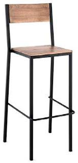 Taburete alto madera y forja para bar