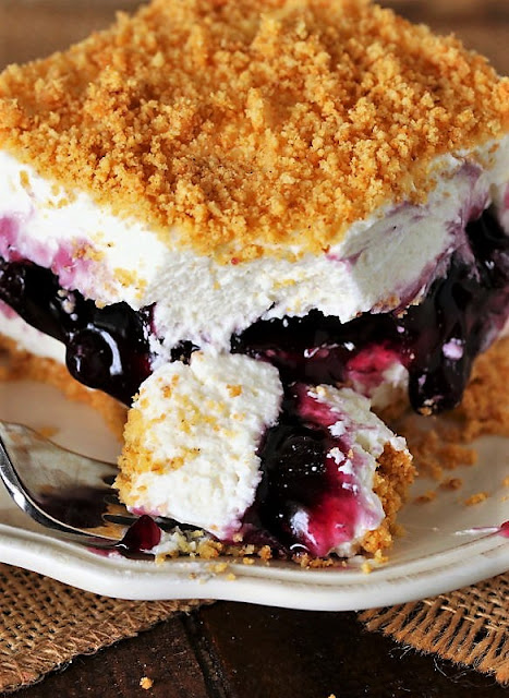 Bite of No-Bake Blueberry Yum Yum on Fork Image
