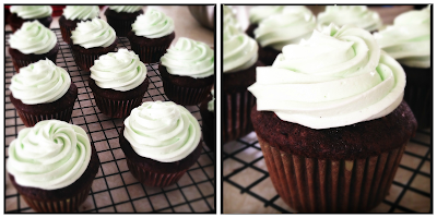 Devil's Food Cupcakes with Mint Butercream