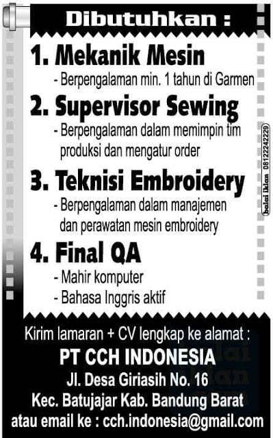 Lowongan Kerja PT. CCH Indonesia