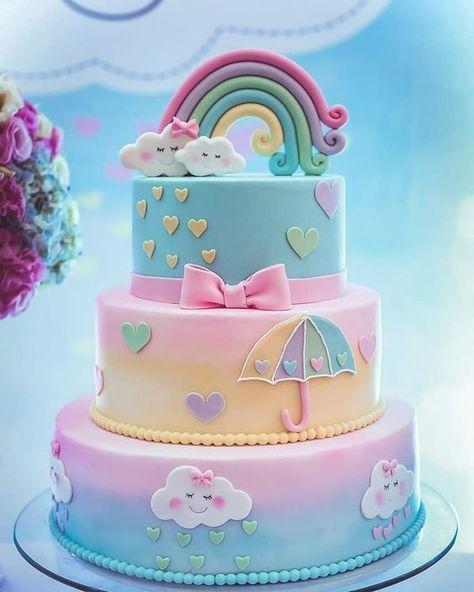 bánh sinh nhật với cồng vồng đẹp cho trẻ nhỏ
