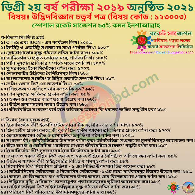 Degree 2nd Year 2021 Subject Botany 4th Paper Special Short Suggestion
