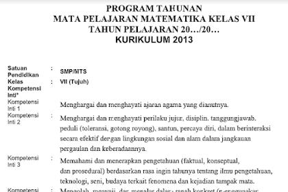 Program Tahunan Matematika Kls 7 SMP Tahun Pelajaran 2019/2020