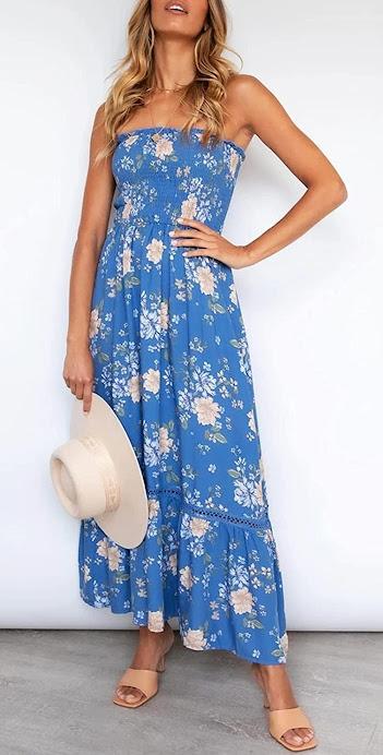 Floral Blue Strapless Maxi Dresses