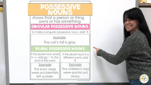 Possessive noun anchor charts to review the possessive nouns rules.