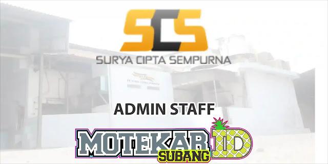 Lowongan Kerja Admin Staff (Purwakarta) PT. Surya Cipta Sempurna 2019