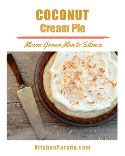 Coconut Cream Pie ♥ KitchenParade.com, how to move grown men to silence. Super fast to make.