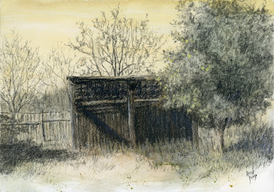 art drawing charcoal abandoned shed hay shelter landscape rural