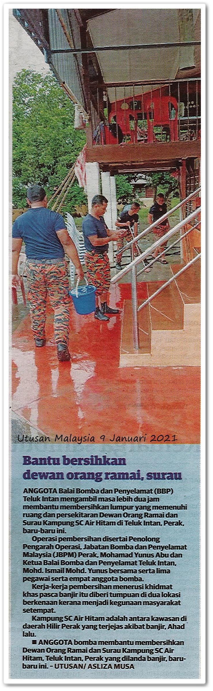 Bantu bersihkan dewan orang ramai, surau - Keratan akhbar Utusan Malaysia 9 Januari 2021