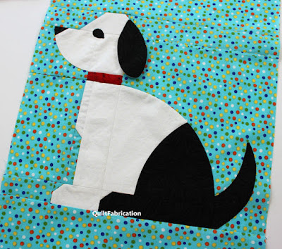 white and black dog quilt block