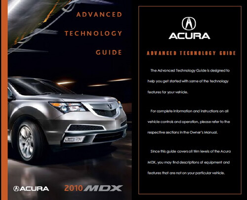 Download 2010 Acura MDX Owner's Manuals & Guides