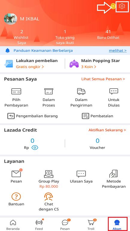 Icon Pengaturan di Menu Akun Aplikasi Marketplace Lazada.