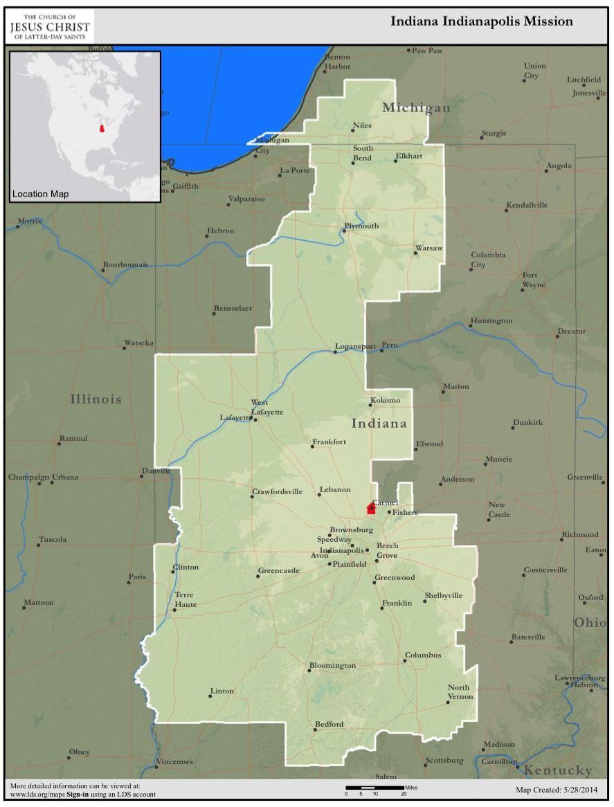 Elder Spencer Rasmussen In Indiana Indiana Mission Map