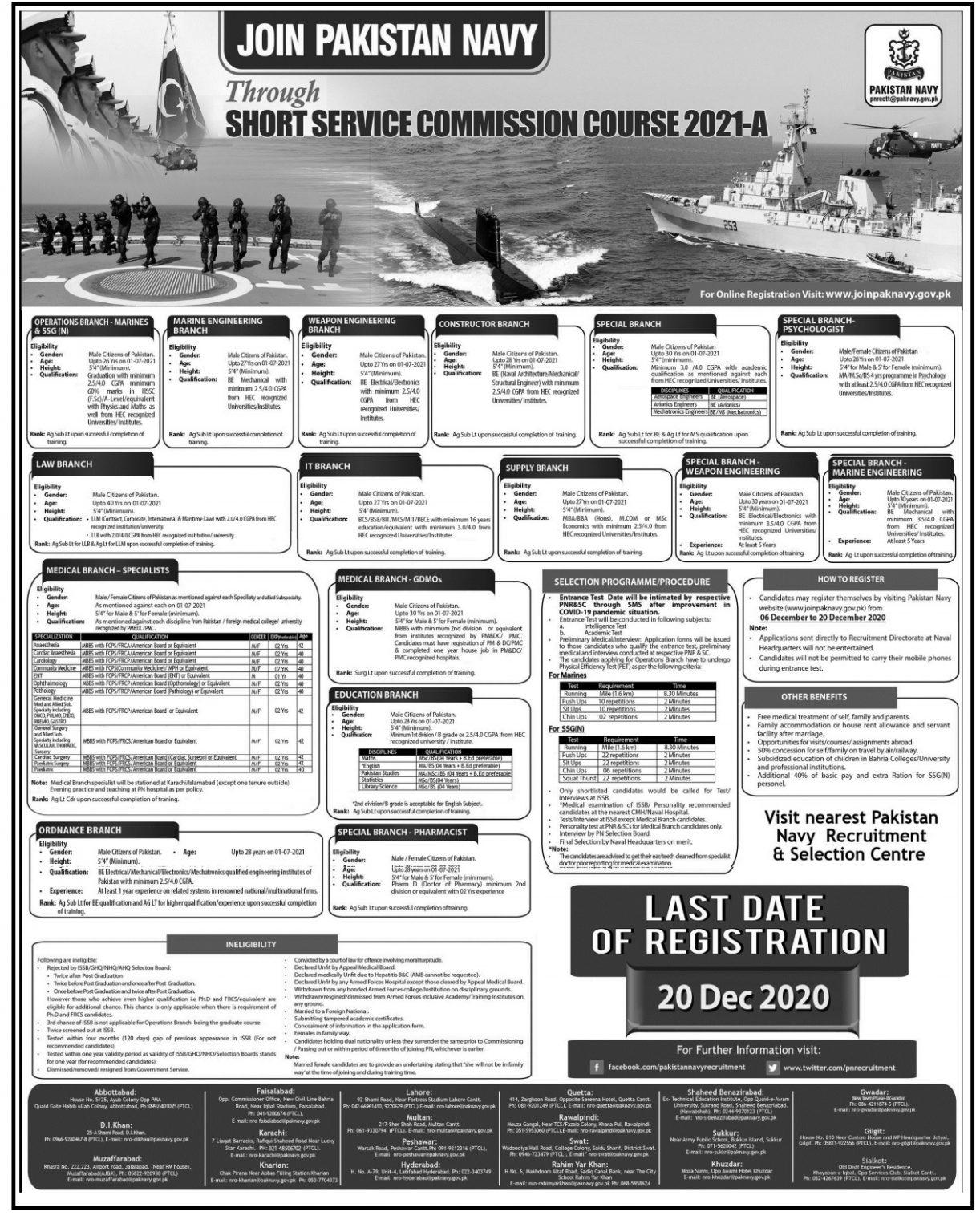 Pak Navy Jobs 2020 Online Registration Through Short Service Commission Course 2021-A