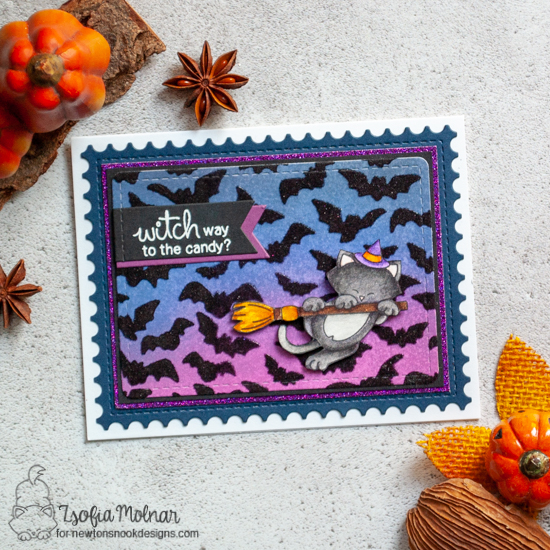 Newton's Nook Designs & Therm O Web Inspiration Week - Halloween card by Zsofia Molnar | Newton's Boo-tiful Night Stamp Set and Flying Bats Stencil by Newton's Nook Designs | Flock Transfer Sheets by Therm O Web #newtonsnook #thermoweb
