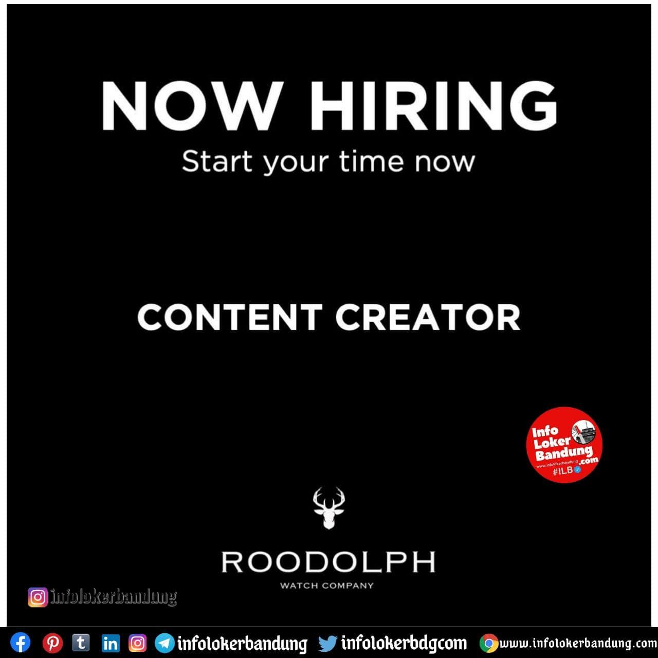 Lowongan Kerja Content Creator Roodolph Watch Company Bandung Januari 2021
