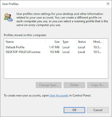 Cách xóa Hồ sơ người dùng (User Profile) trong Windows 10