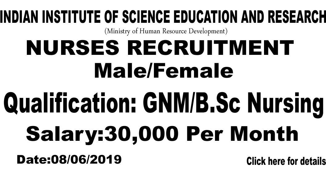 NURSING JOBS: Male/Female GNM/B.Sc Nursing Staff/Assistant