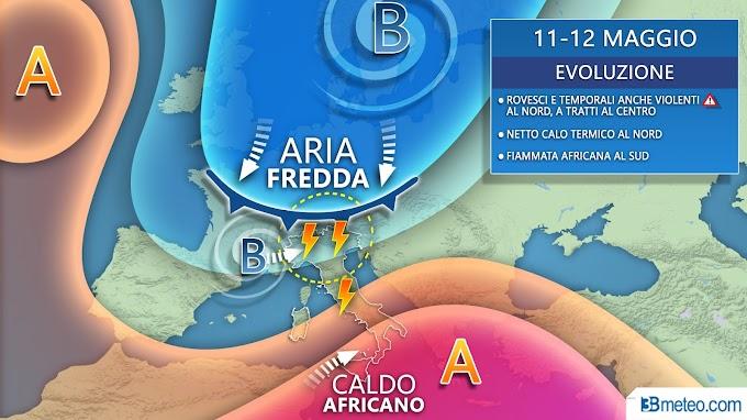 """3BMeteo: ''Dopo il 10 maggio meteo movimentato tra violenti temporali, freddo e fiammate africane"""""""