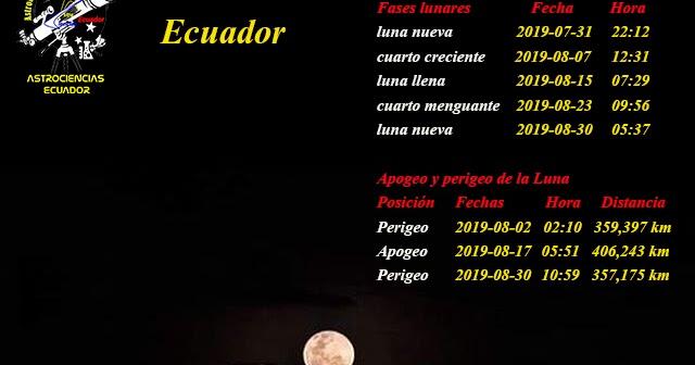 AstroCiencias Ecuador: Calendario Lunar Mes Agosto 2019 ...