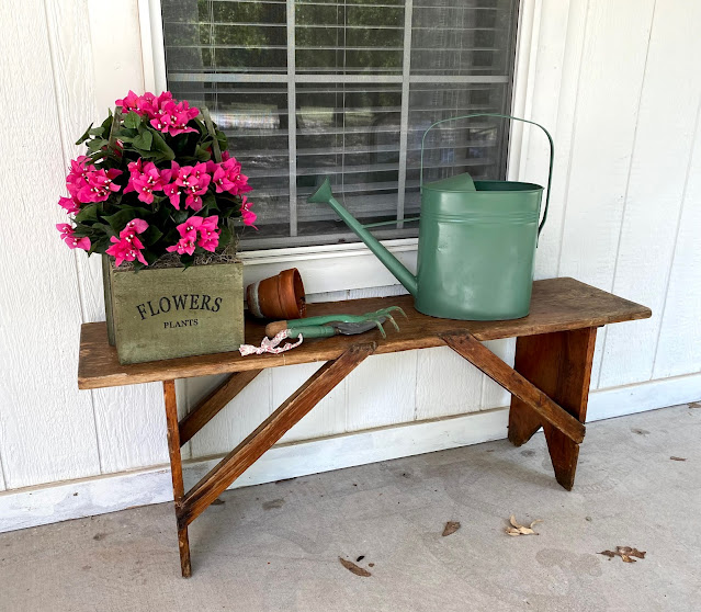 Wood crate,Nearly Natural Bougainvillea on a wood bench