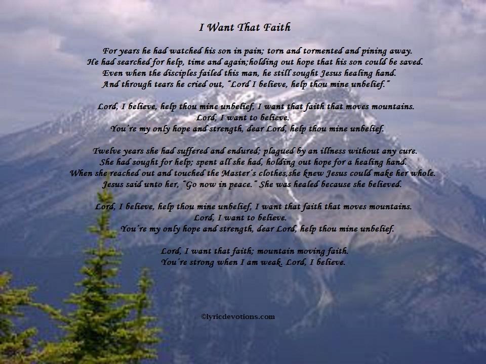 Lyric Devotions: I Want That Faith, Mark 5:34