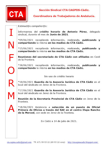 C.T.A. INFORMA CRÉDITO HORARIO ANTONIO PÉREZ, JUNIO 2021