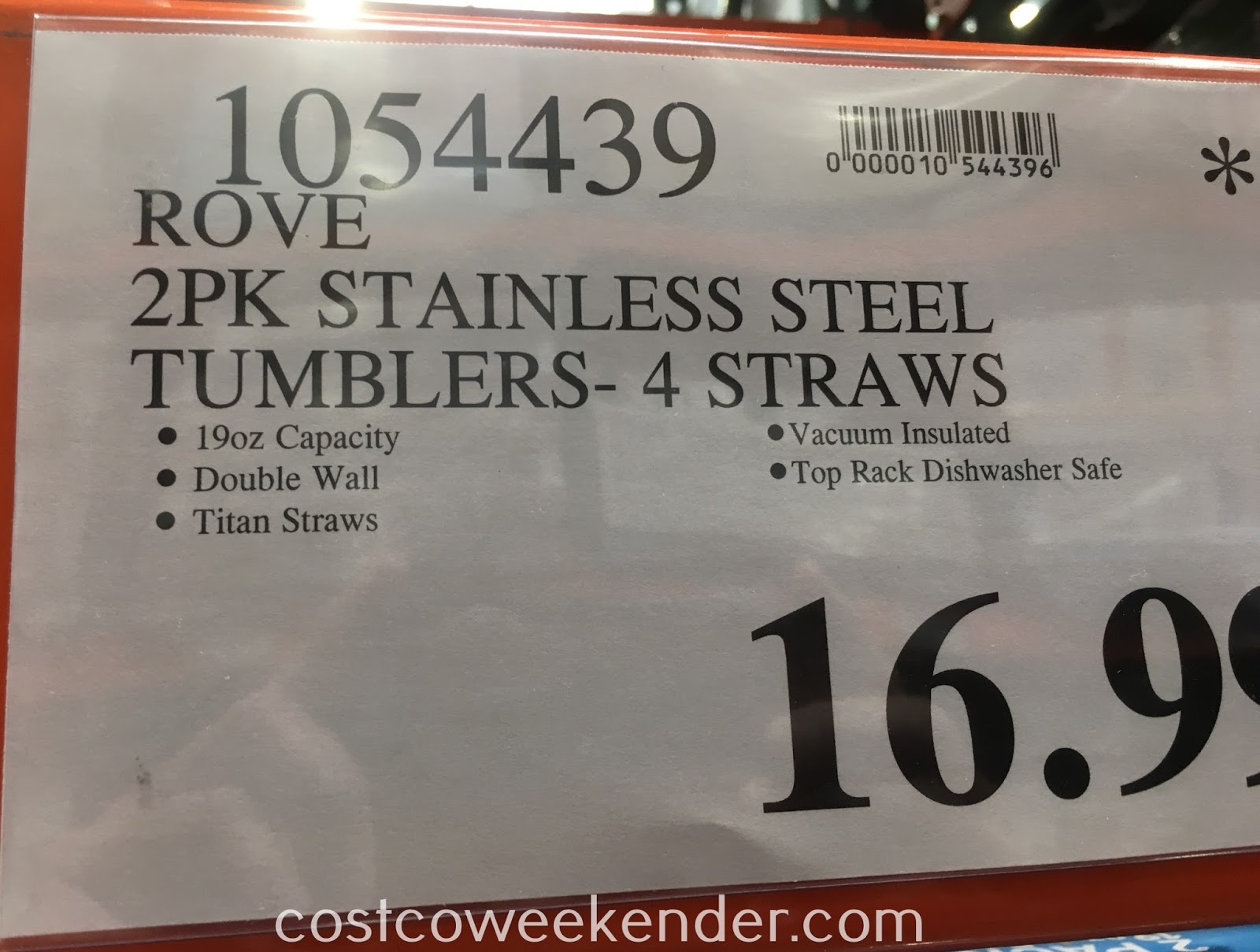 Deal for a 2 pack of Rove Stainless Steel Double Wall Vacuum Insulated Tumblers (2 pack) at Costco