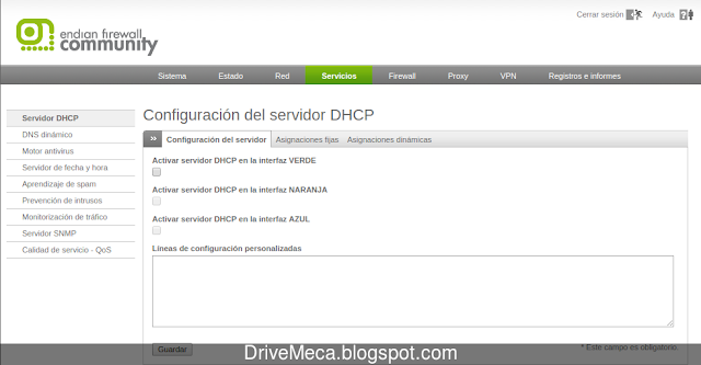 Activamos DHCP server en la interfaz green