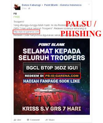 Situs Phising Tukar Kode Redeem Code PB Garena