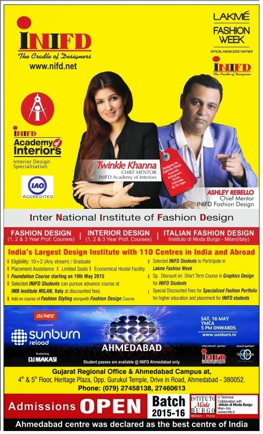 Inter National Institute Of Fashion Design Inifd Ahmedabad Admission 2015 Www Nifd Net Kawant Express