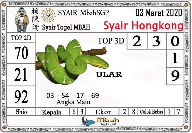 Prediksi Togel JP Hongkong Selasa 03 Maret 2020 - Syair Mbah SGP