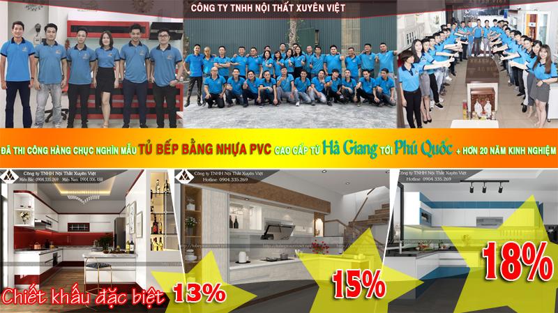 Chiết khấu ưu đãi khi đặt Thi công tủ bếp đẹp tại Xuyên Việt