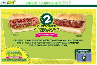 Subway coupons april 2017